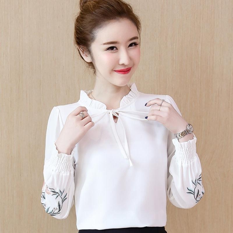 韩版显瘦百搭雪纺衬衫女长袖春秋季新款印花衬衣女装小衫打底衫女
