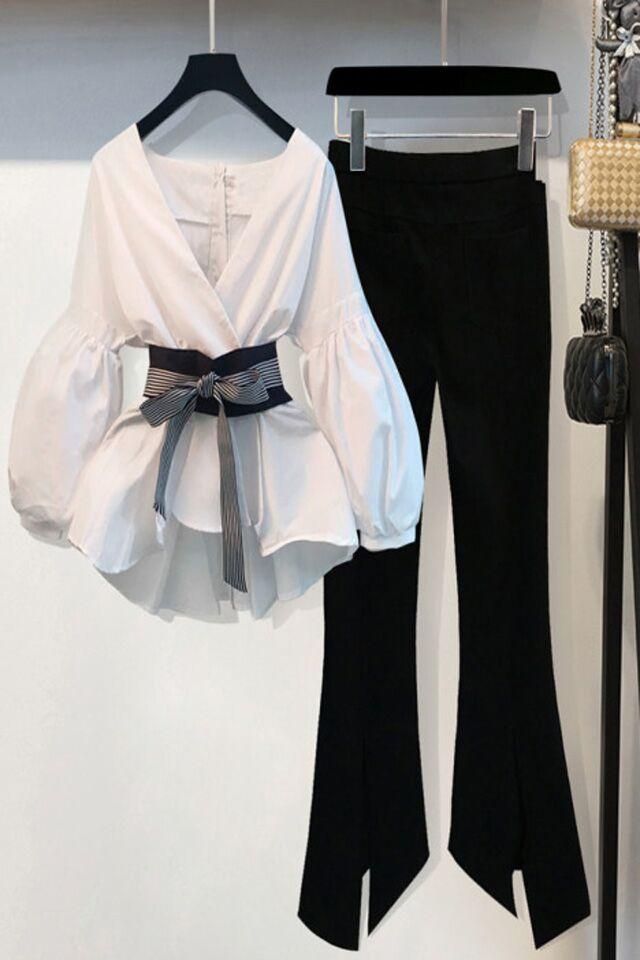 韩范时尚小香风七分袖收腰雪纺衬衫+休闲显瘦喇叭裤套装两件套女