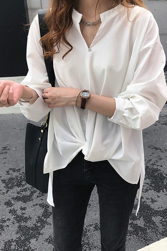 春季新款韩版不规则宽松雪纺衫女V领胖妹妹大码百搭上衣白色衬衫