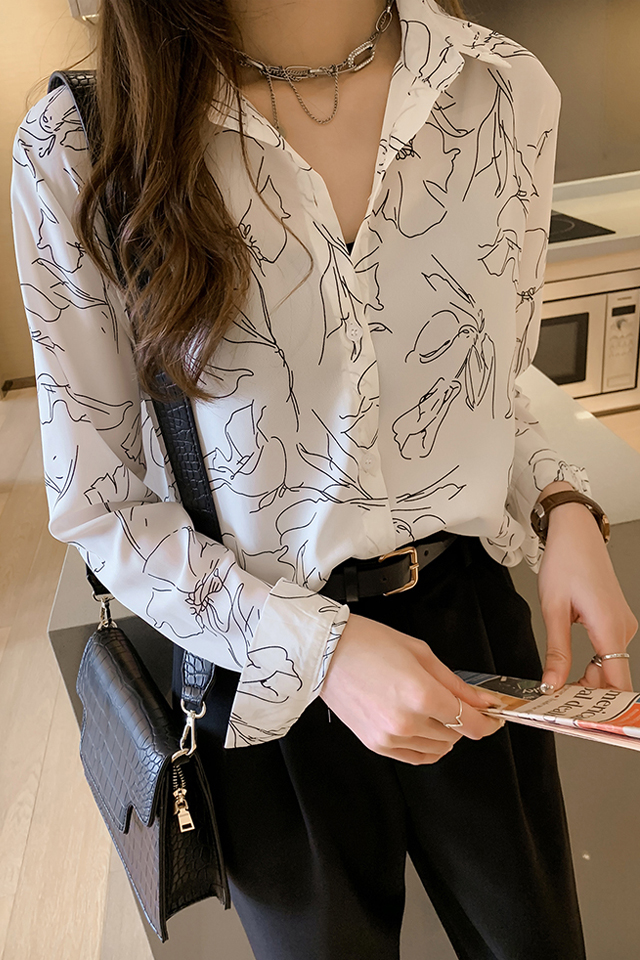 春秋季新款韩版复古印花中长款雪纺衬衫女宽松百搭小衫衬衣