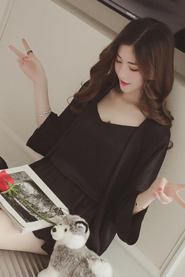 夏季睡衣女四件套亲肤韩版性感吊带短裤开衫冰丝套装家居服