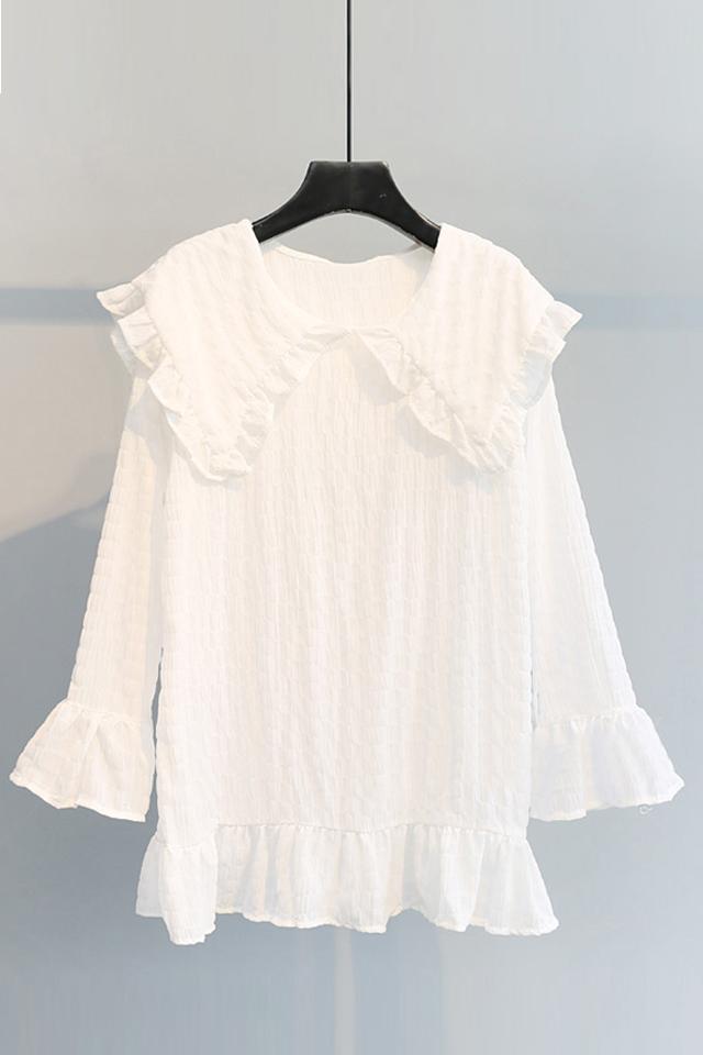 娃娃领荷叶袖袖雪纺纯色衬衫女很仙的衬衣春装新款2020