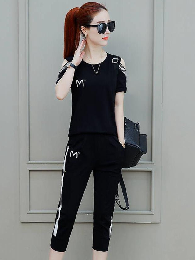 运动套装女夏季2019新款宽松韩版短袖T恤女七分裤休闲大码两件套