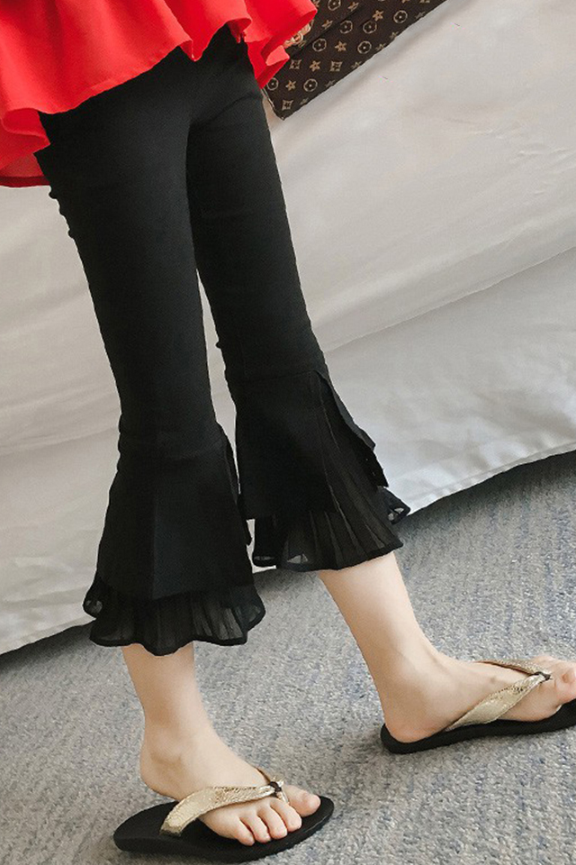 女童裤子喇叭裤2021新款时尚儿童七分裤大童弹力修身中裤春夏