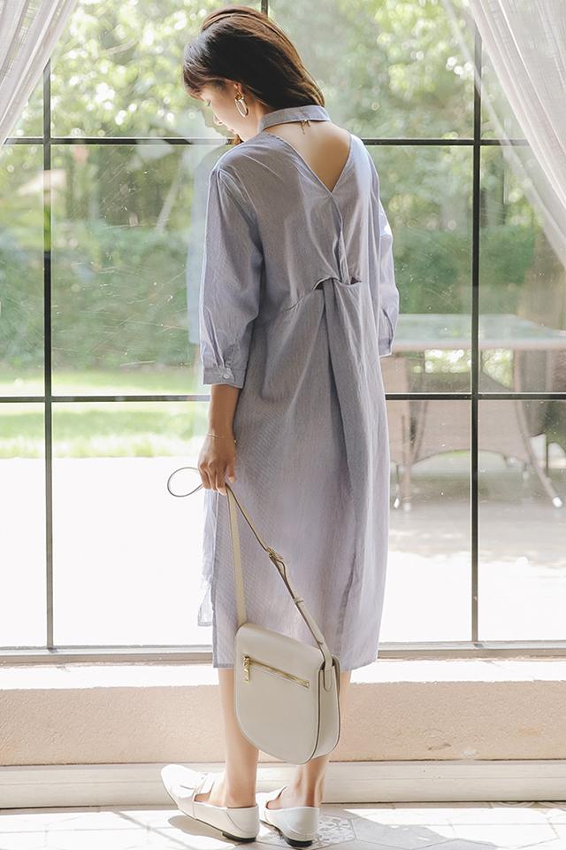 孕妇装夏装孕妇连衣裙七分袖孕妇裙子条纹衬衫裙中长款哺乳连衣裙