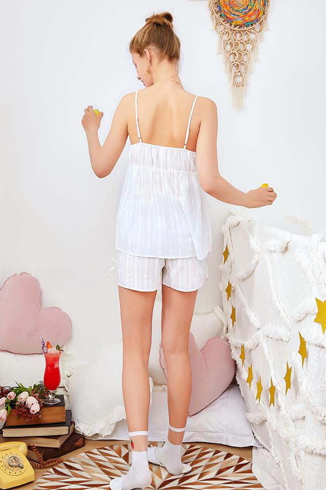 芬腾夏季新款吊带睡衣女薄款两件套甜美少女梭织纯棉带胸垫家居服