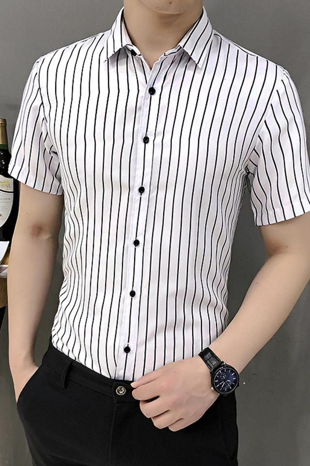 男士休闲衬衫2019夏季薄款短袖衬衣免烫大码男装上衣服韩版翻领修身短袖条纹寸衫潮