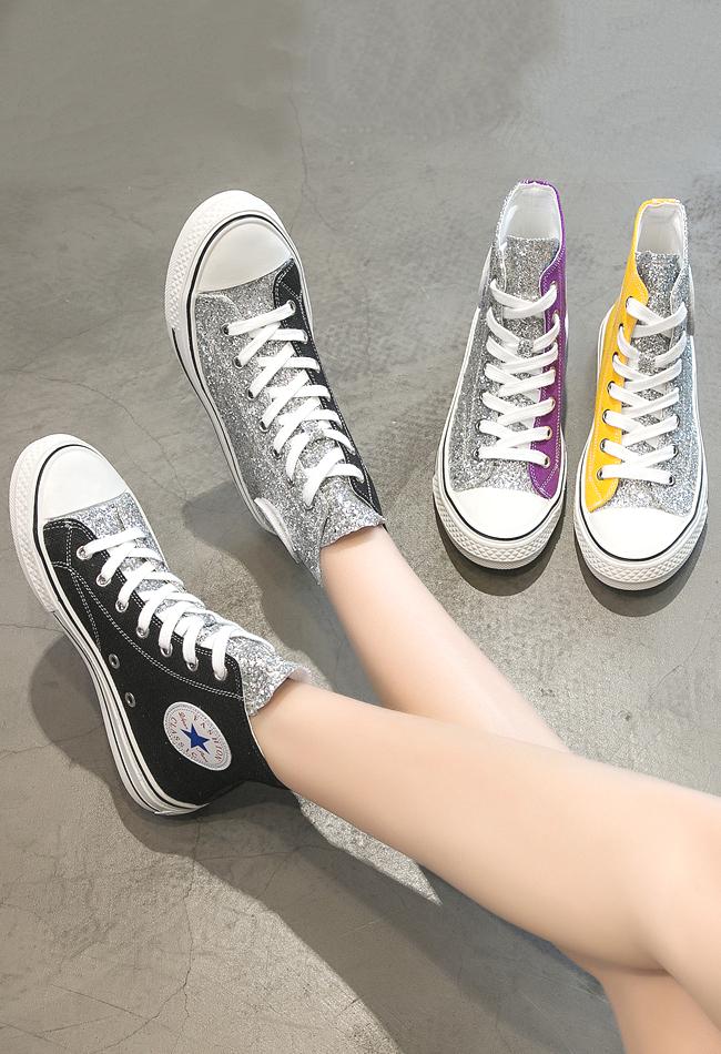 明星鸳鸯鞋亮片帆布鞋大眼睛潮鞋网红高帮鞋女鞋子休闲鞋学生球鞋