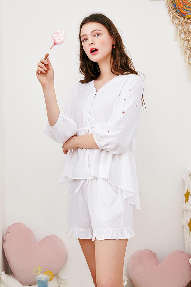 芬腾睡衣女夏七分袖中袖短裤薄款V领韩版可爱少女家居服两件套装