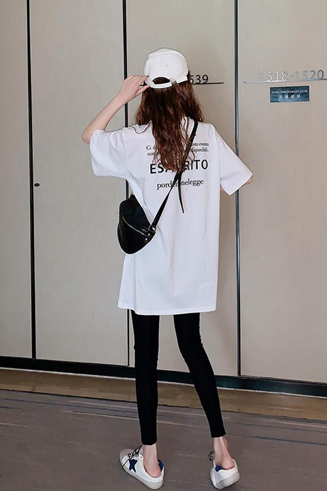 夏季新款休闲宽松字母短袖T恤+显瘦打底小脚裤时尚套装两件套女