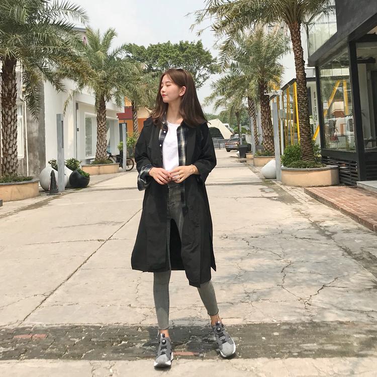 春夏韩版七分袖过膝风衣外套+白色短袖T恤破洞修身牛仔裤三件套