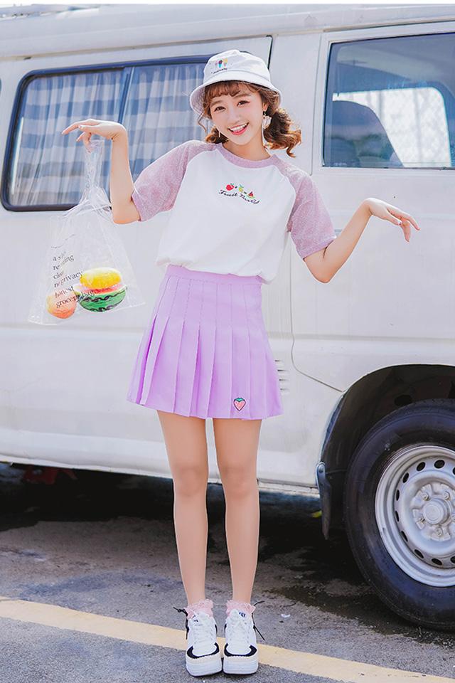 新款百褶裙白色短裙少女软妹粉色裙子半身裙学生夏原宿