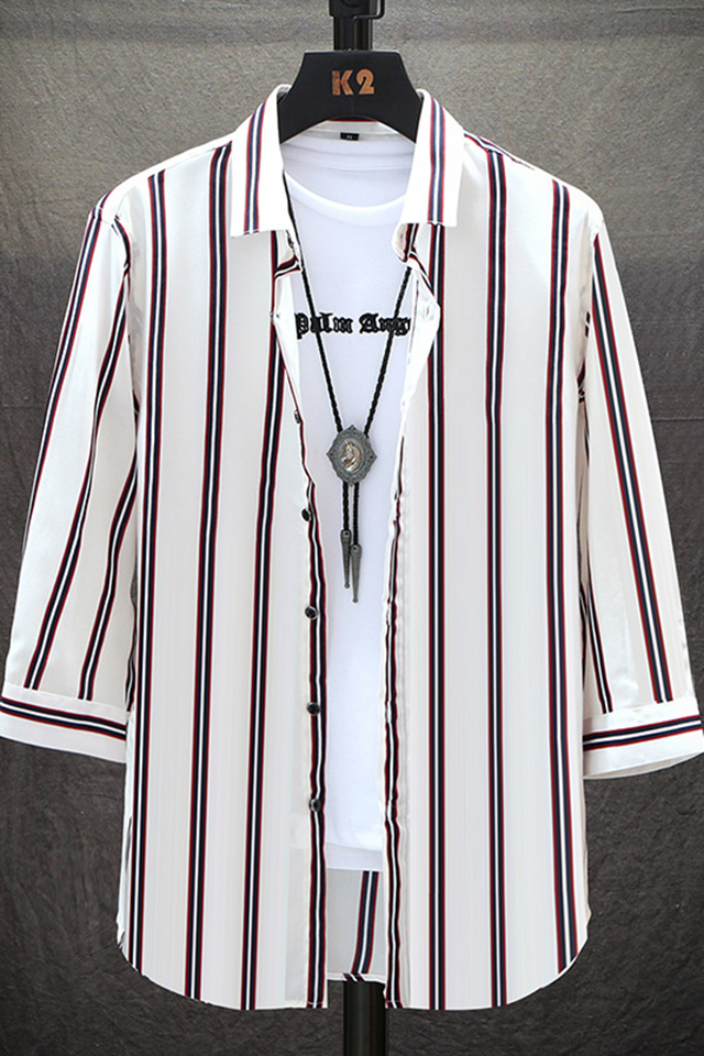 夏季冰丝短袖男七分袖衬衫韩版帅气宽条纹衬衣休闲百搭中袖寸衫