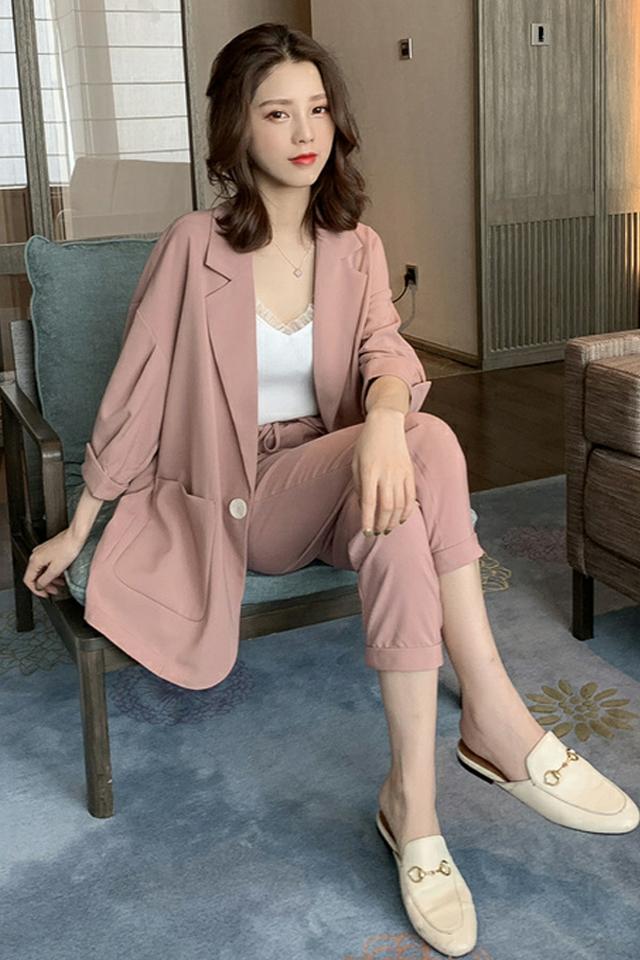 夏季新款网红同款休闲小西装+高腰休闲裤两件套装小个子时尚套装