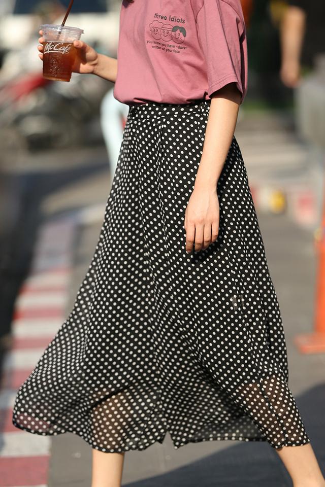 坠感阔腿裤女2020春秋新款潮波点休闲裤子女高腰宽松七分裤