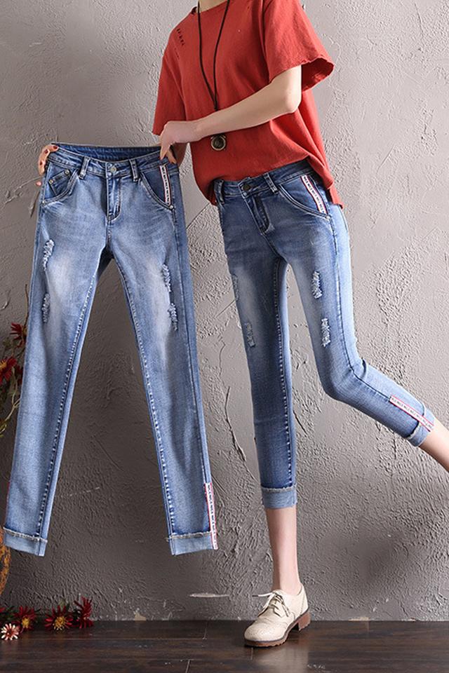 破洞牛仔裤女春夏季新款韩版七分裤修身薄款学生小脚裤大码胖MM