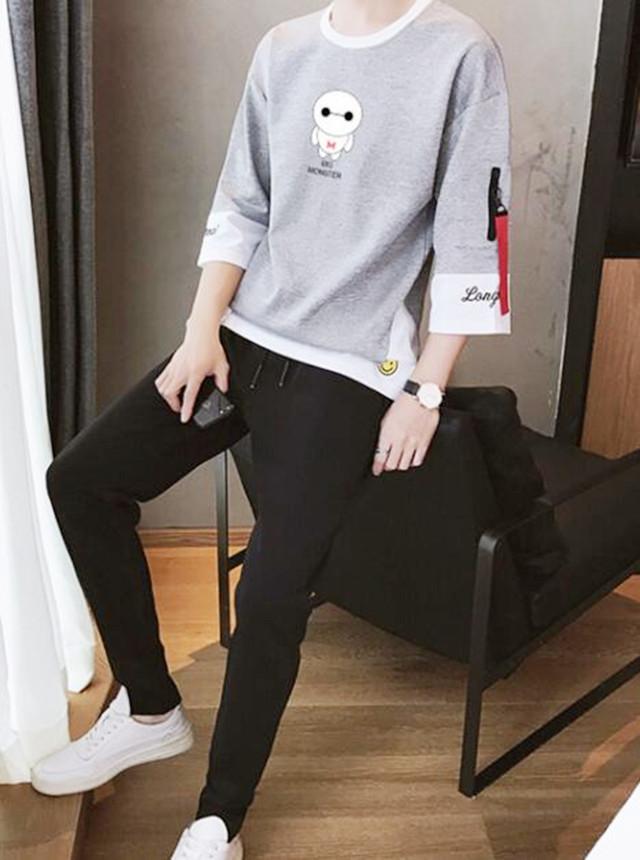 春夏季男士短袖t恤韩版潮流宽松卫衣长袖半截中袖七分袖套装