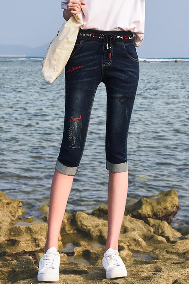 七分牛仔裤女2020春夏款松紧腰高腰显瘦卷边刺绣7分小脚裤