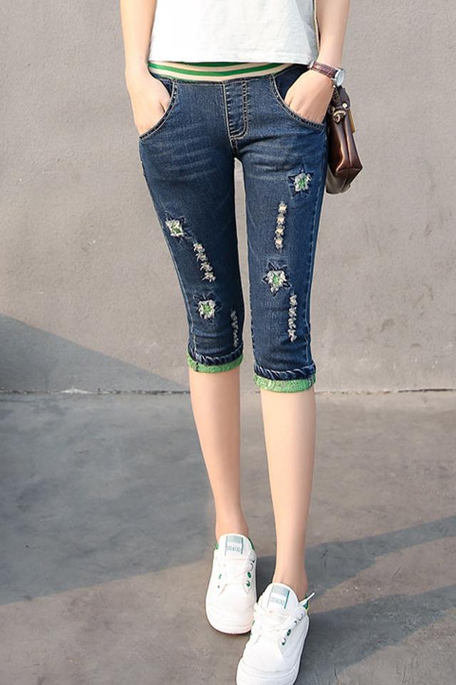 2020春夏季新款高腰牛仔裤学生7分裤松紧腰显瘦少女韩版大码