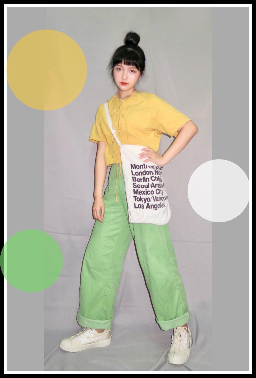 #穿成冰淇淋,清凉可口是你!# 🍋超级显白的柠檬黄衬衣 🍏果绿色的宽松长裤 这两个颜色搭在一起真的炒鸡清新 显白又显瘦 我太爱辽!!!