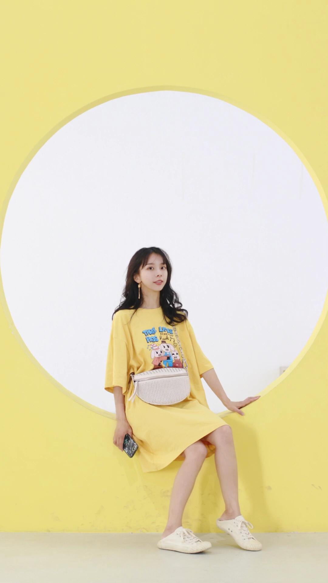 #蘑菇街新品测评# 可爱黄色T恤裙, 游玩少女必备单品, 清凉又舒适,可爱又俏皮