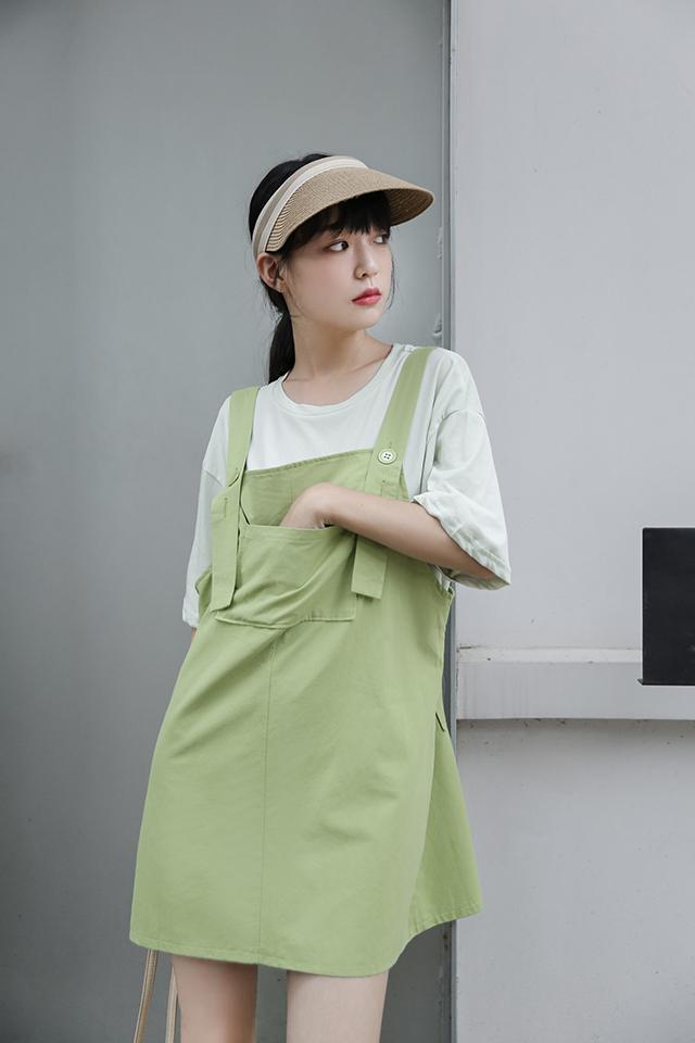 墨锦复古洋气学生减龄背带裙2020流行夏天裙子韩版吊带连衣裙