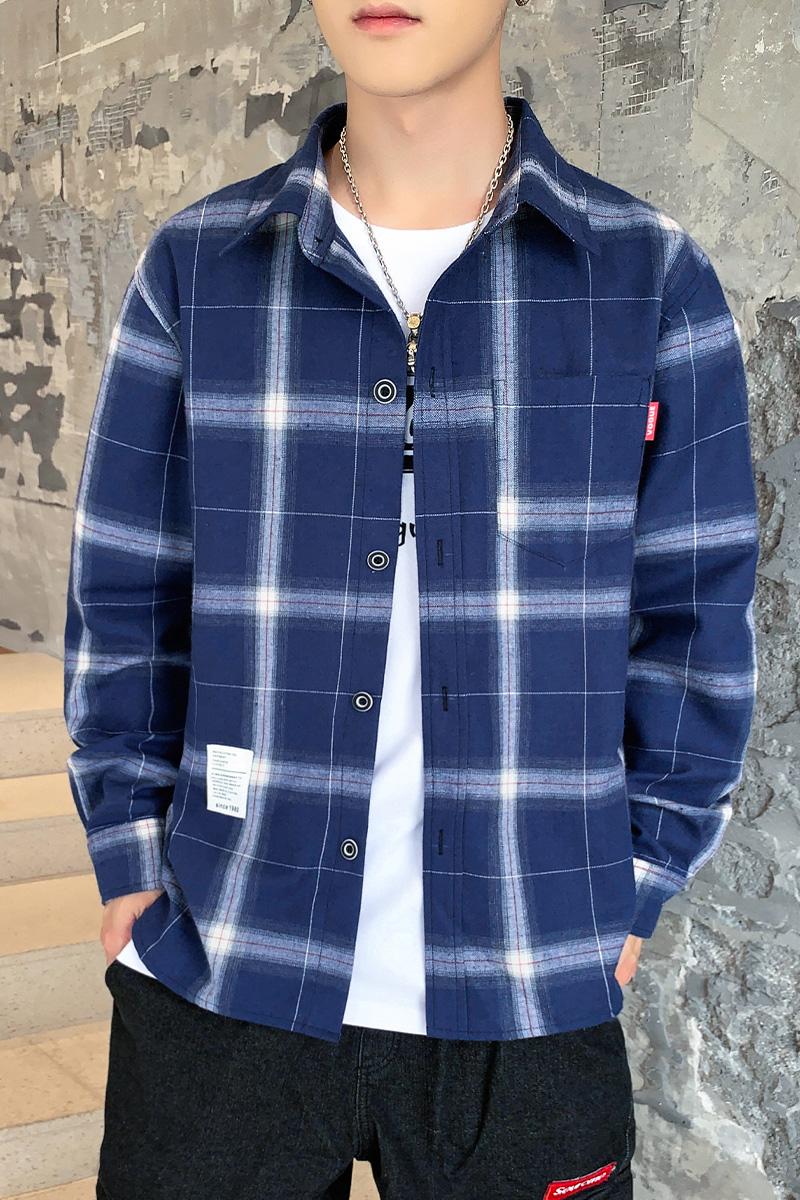 衬衫男长袖男士白衬衣外套上衣男装宽松韩版冬春秋季休闲格子潮流
