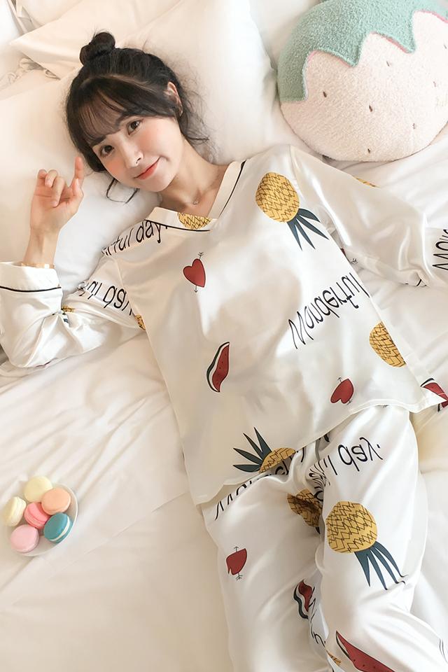 睡衣女春秋季薄款冰丝长袖两件套装韩版V领仿真丝女士学生家居服