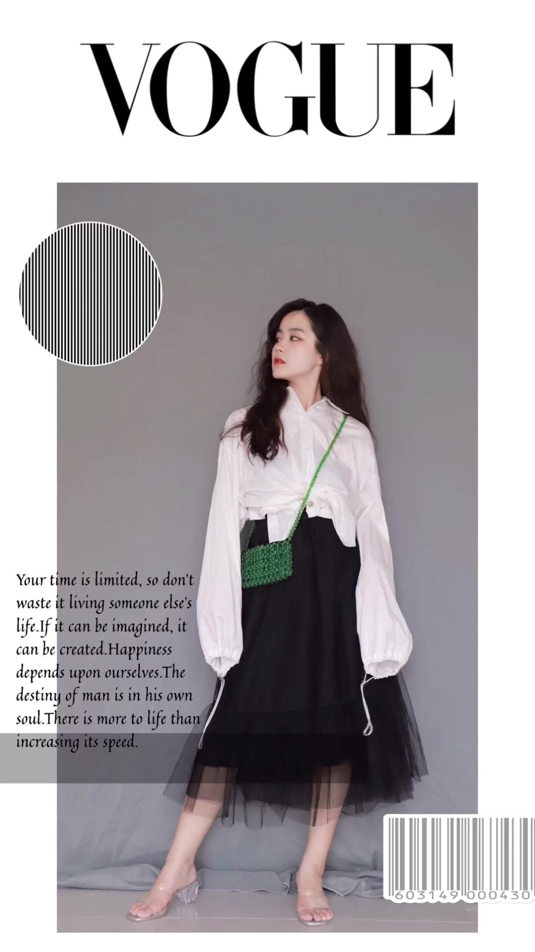 白色抽绳短款衬衫搭配黑色网纱半身裙 斜挎绿色串珠包包 整套简约气质#网红套装:摆脱穿衣纠结症!#