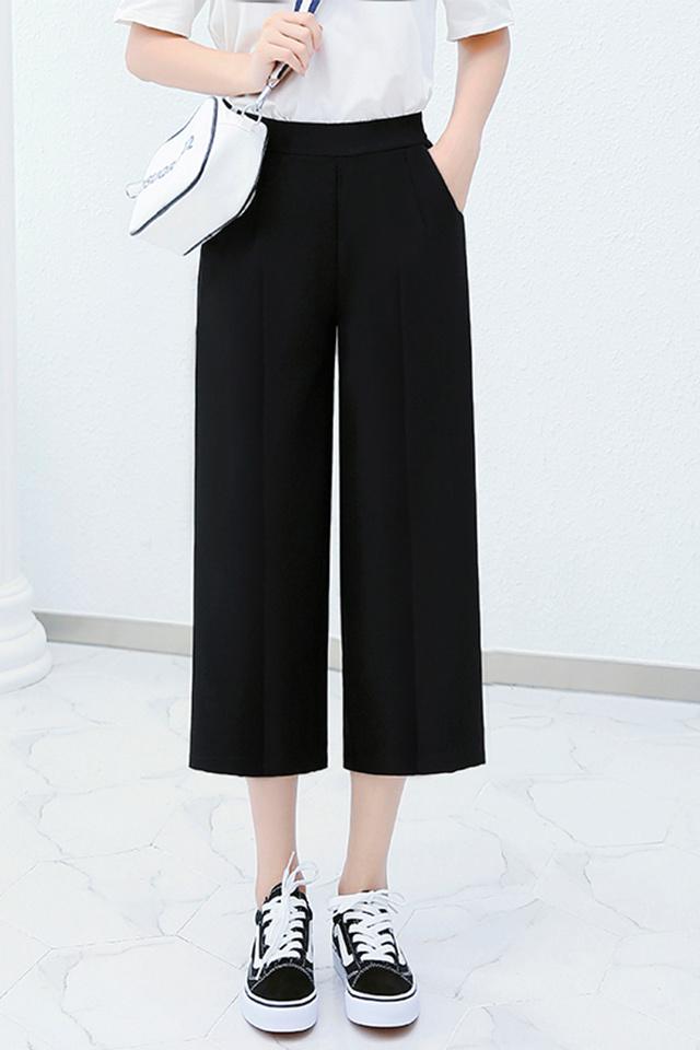 夏季新款阔腿裤女高腰薄款宽松九分黑色直筒西装裤七分雪纺休闲裤