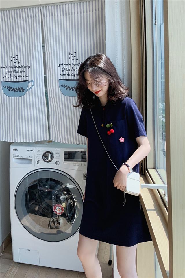 连衣裙新款夏流行裙子韩版小个子学生短袖樱桃polo网红T恤裙