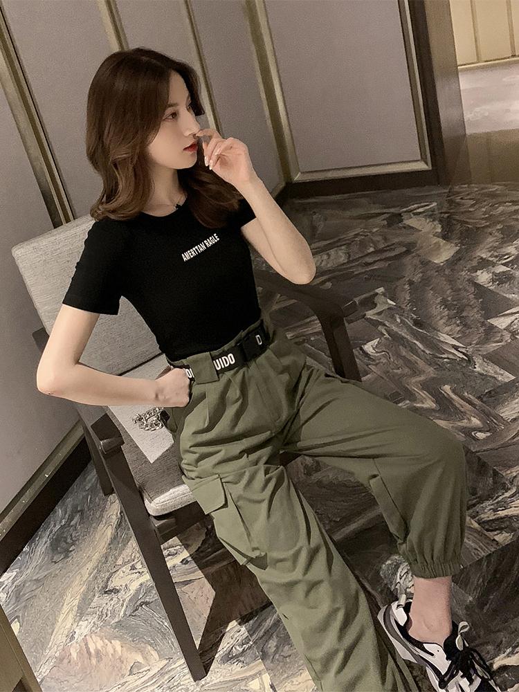 夏季新款韩版修身显瘦短款圆领短袖T恤女装字母印花百搭打底上衣