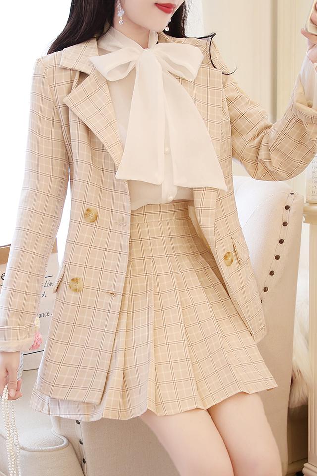 小香风甜美蝴蝶结雪纺衬衫格子西装百褶裙气质三件套装早秋新款女