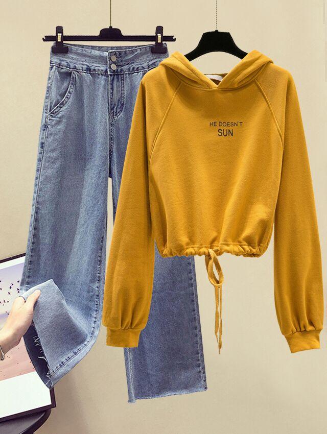 秋装时尚套装女新款韩版宽松字母连帽卫衣+高腰直筒阔腿裤两件套
