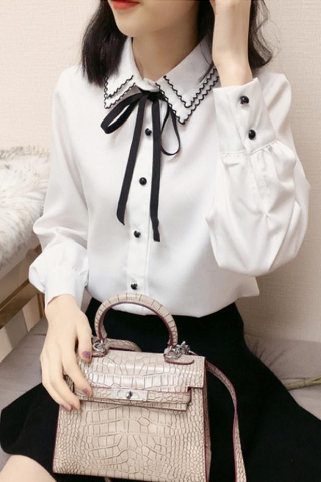 2020春季韩版新款蝴蝶结系带双层领白色长袖雪纺衬衫女上衣潮