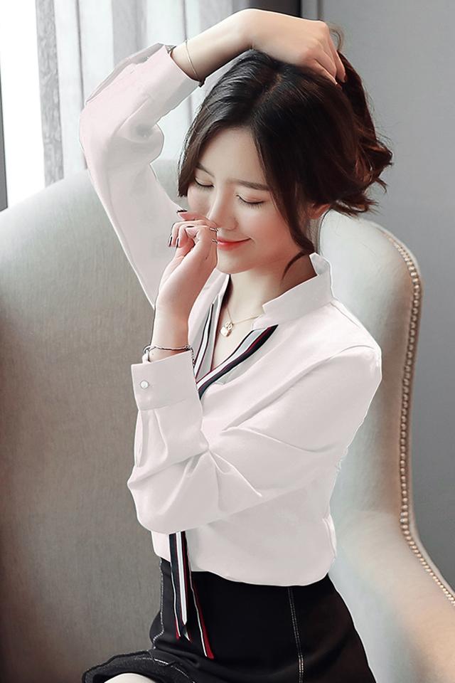 白衬衫女韩版2020春季新款气质雪纺衫长袖衬衣大码V领上衣潮