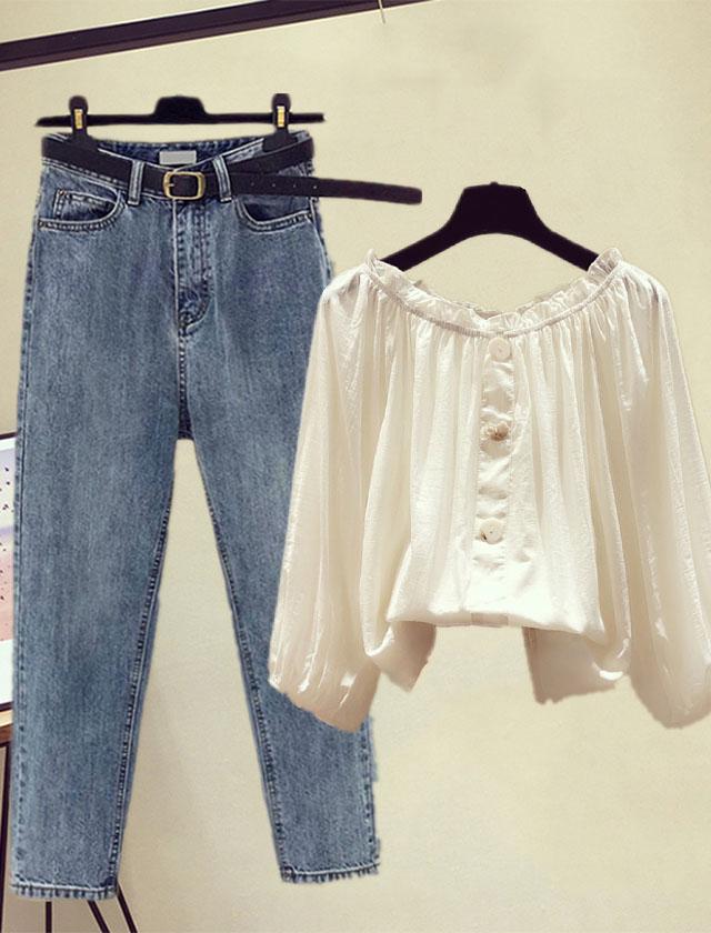 春季新款女装韩版一字肩显瘦甜美雪纺衬衫复古九分显瘦牛仔裤套装