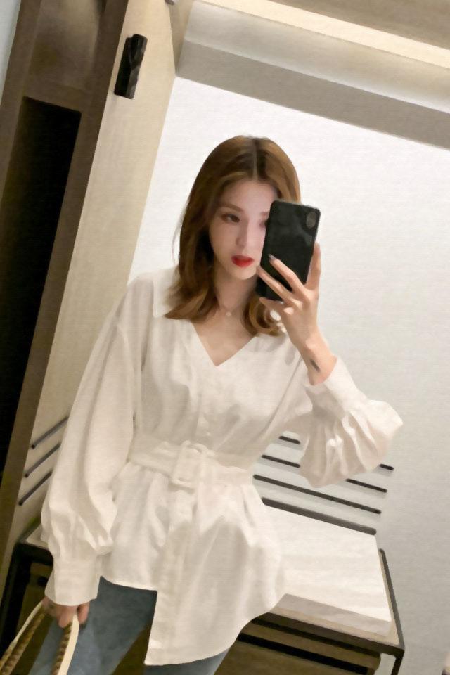 韩版新款早秋腰带系带长袖衬衫女宽松显瘦百搭衬衣不规则网红上衣