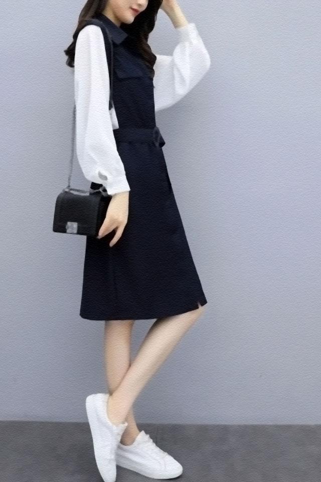 假两件连衣裙女2019秋季新款女装韩版高腰收腰显瘦气质衬衫裙