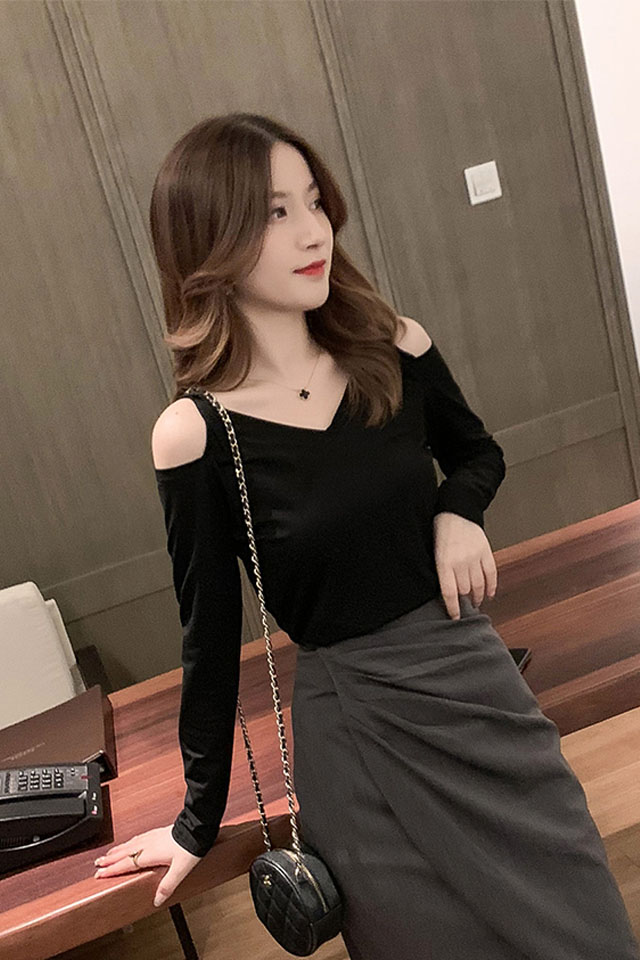 秋季新款韩版修身显瘦女神性感露肩V领长袖T恤纯色百搭打底上衣