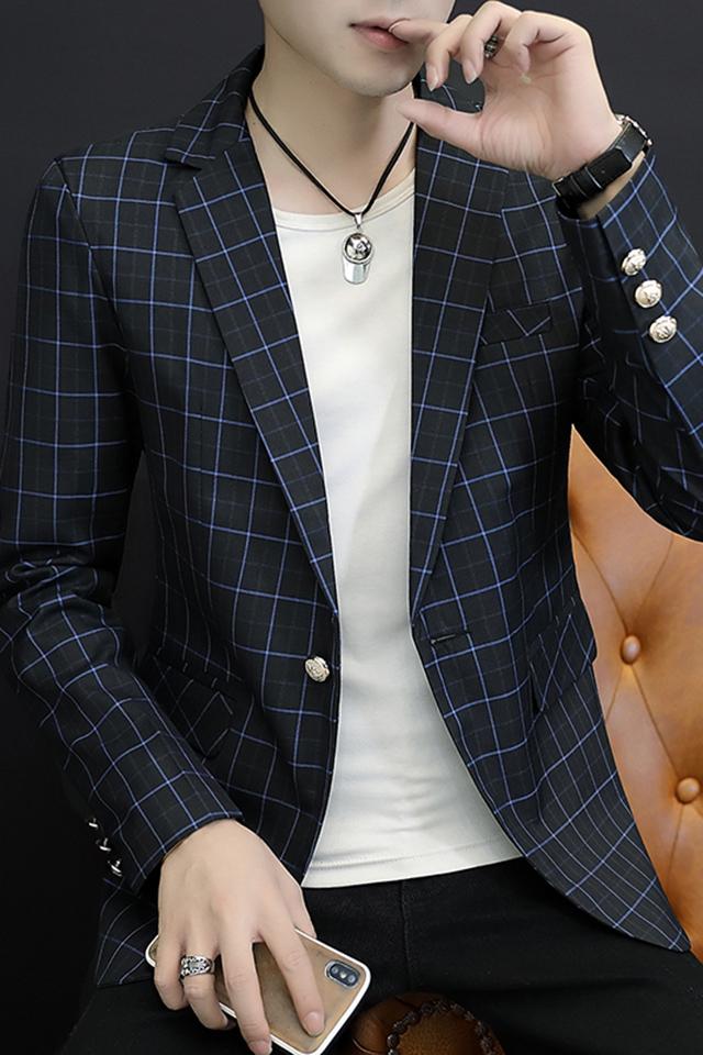新款春秋季休闲西服外套青年韩版修身时尚潮流帅气小西装格子上衣