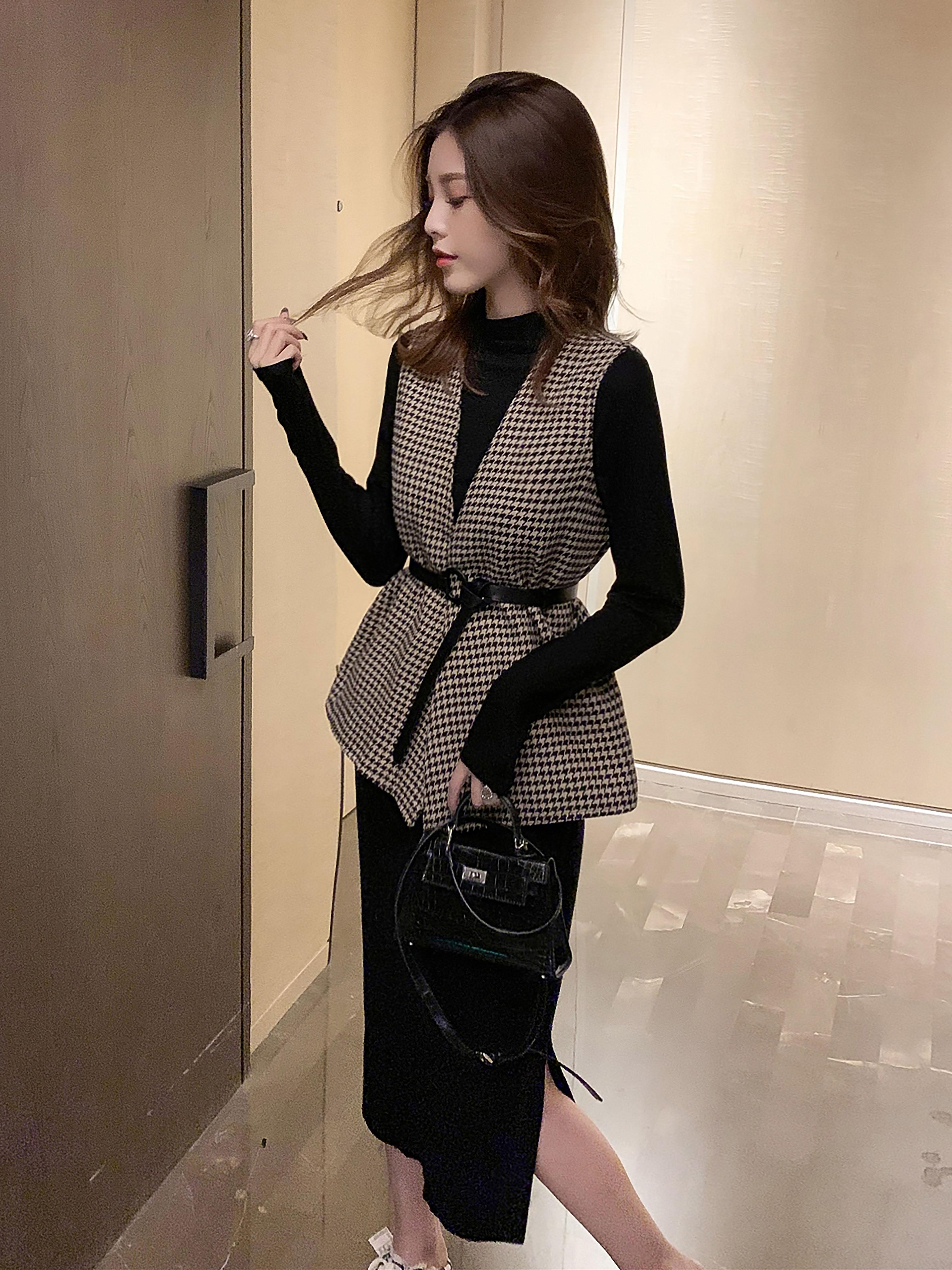秋季新款韩版黑色打底衫系带马甲两件套复古百搭洋气上衣时尚套装