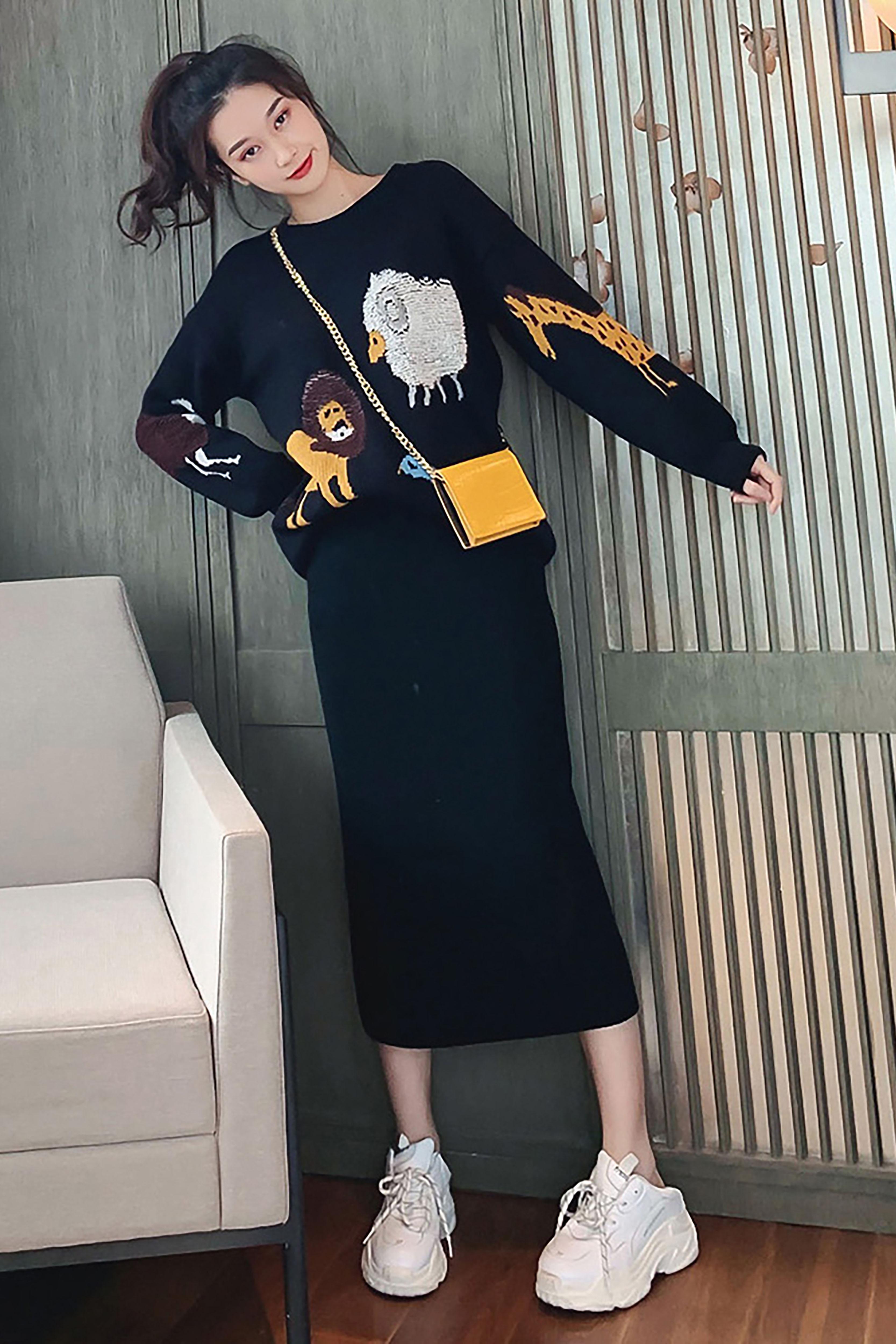 2019针织半身裙秋季新款高腰中长款百搭显瘦黑色开叉一步裙子