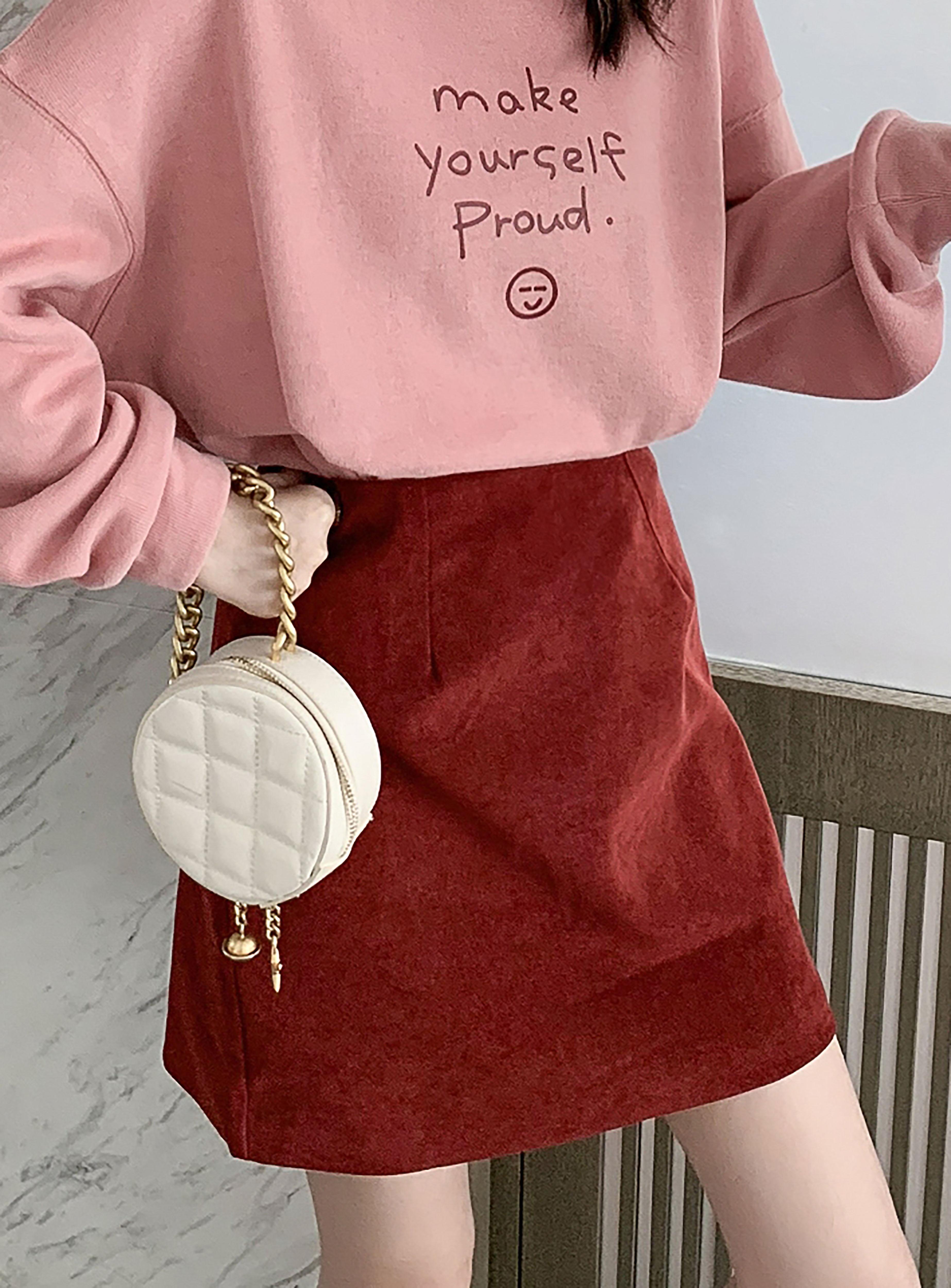 秋季新款韩版高腰显瘦纯色百搭半身裙女甜美洋气时尚短裙A字裙子