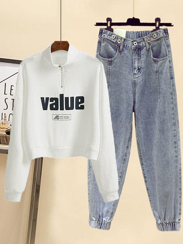 秋季韩版新款短款卫衣高领外套配送腰带高腰牛仔裤三件套时尚套装