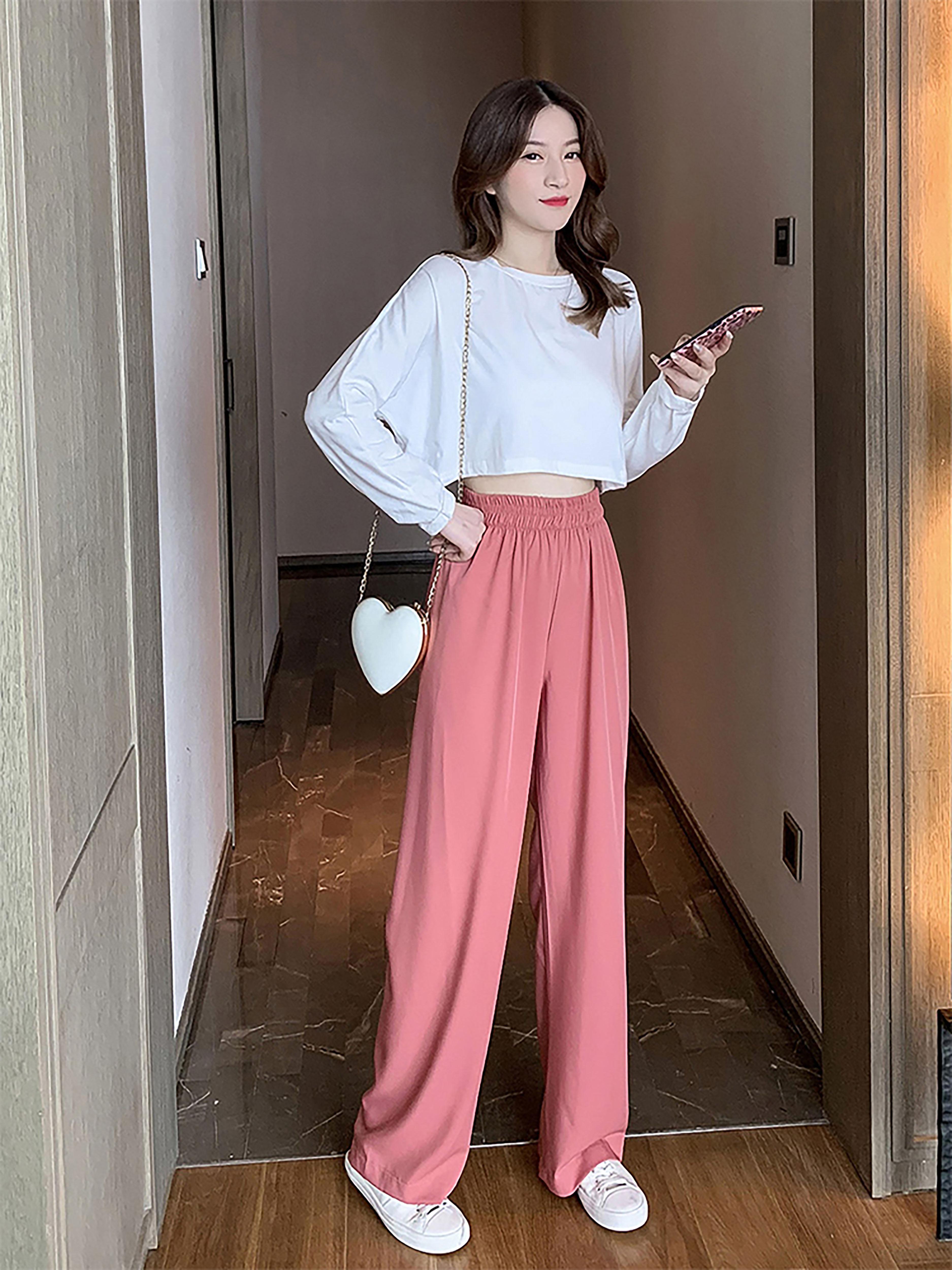 女神温柔休闲时尚套装秋季韩版新款白色长袖T恤高腰阔腿裤两件套