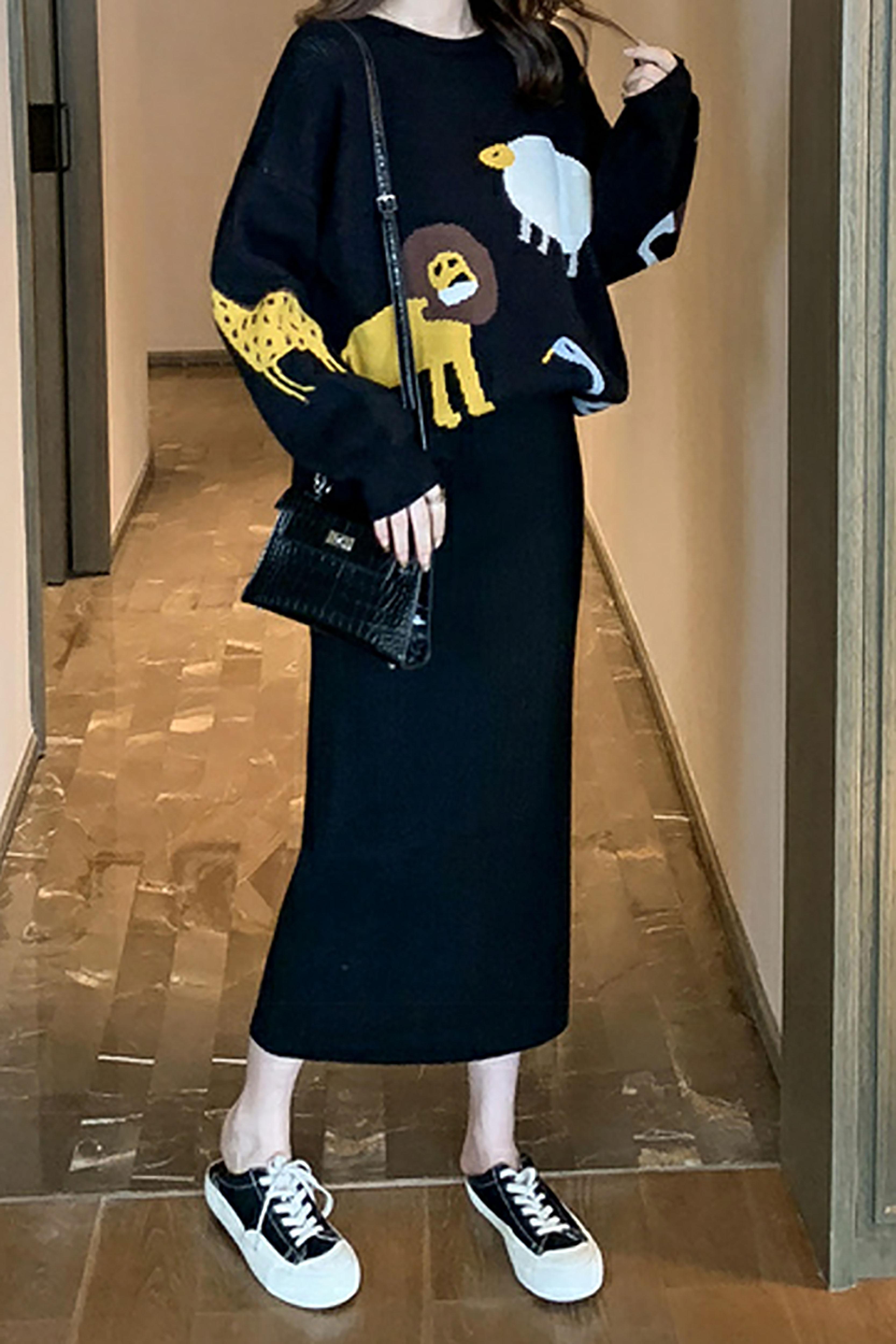 秋季新款韩版高腰显瘦纯色针织半身裙长裙女修身百搭包臀裙一步裙