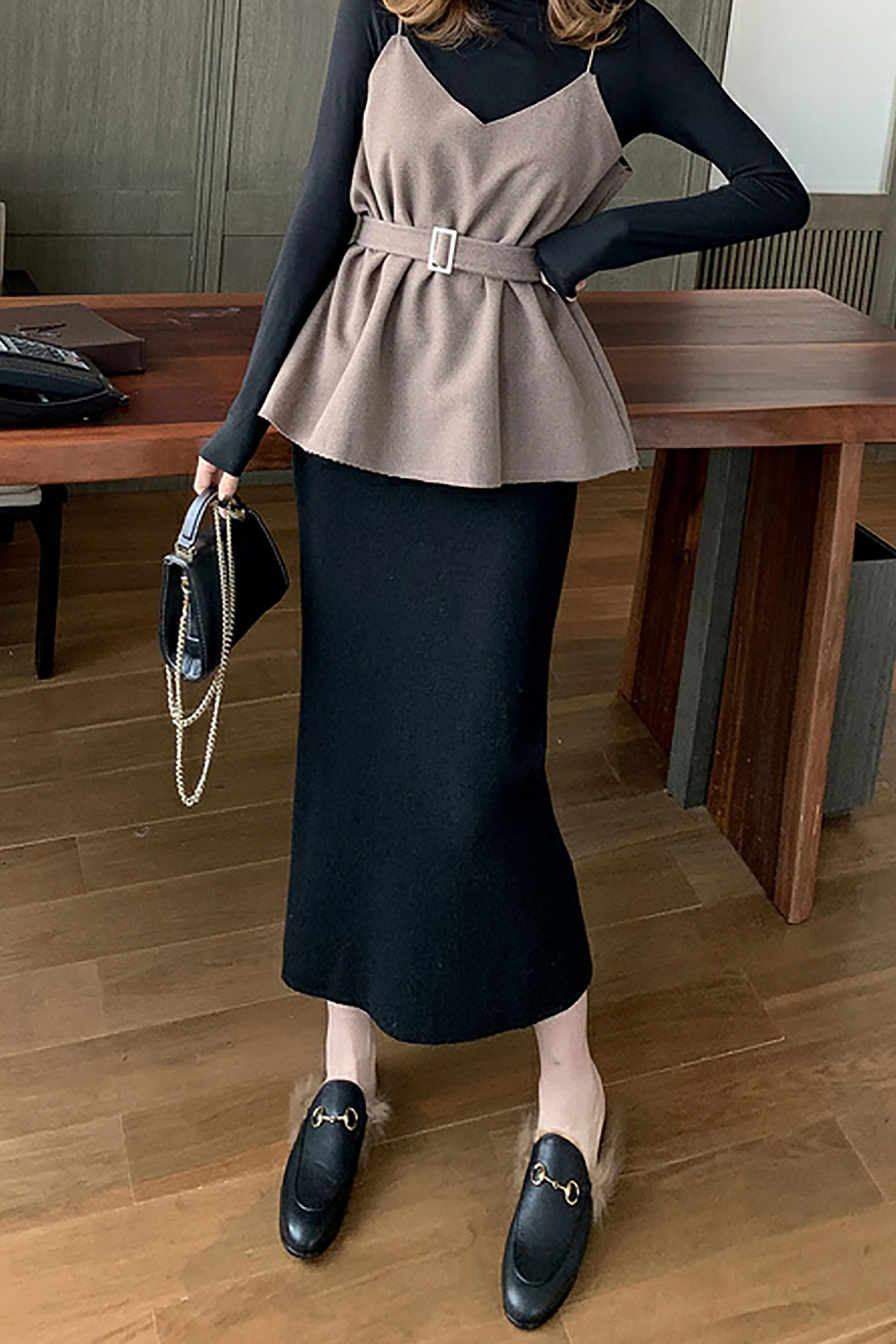 秋装新款韩版高腰针织半身裙长裙女黑色显瘦包臀裙名媛时尚一步裙
