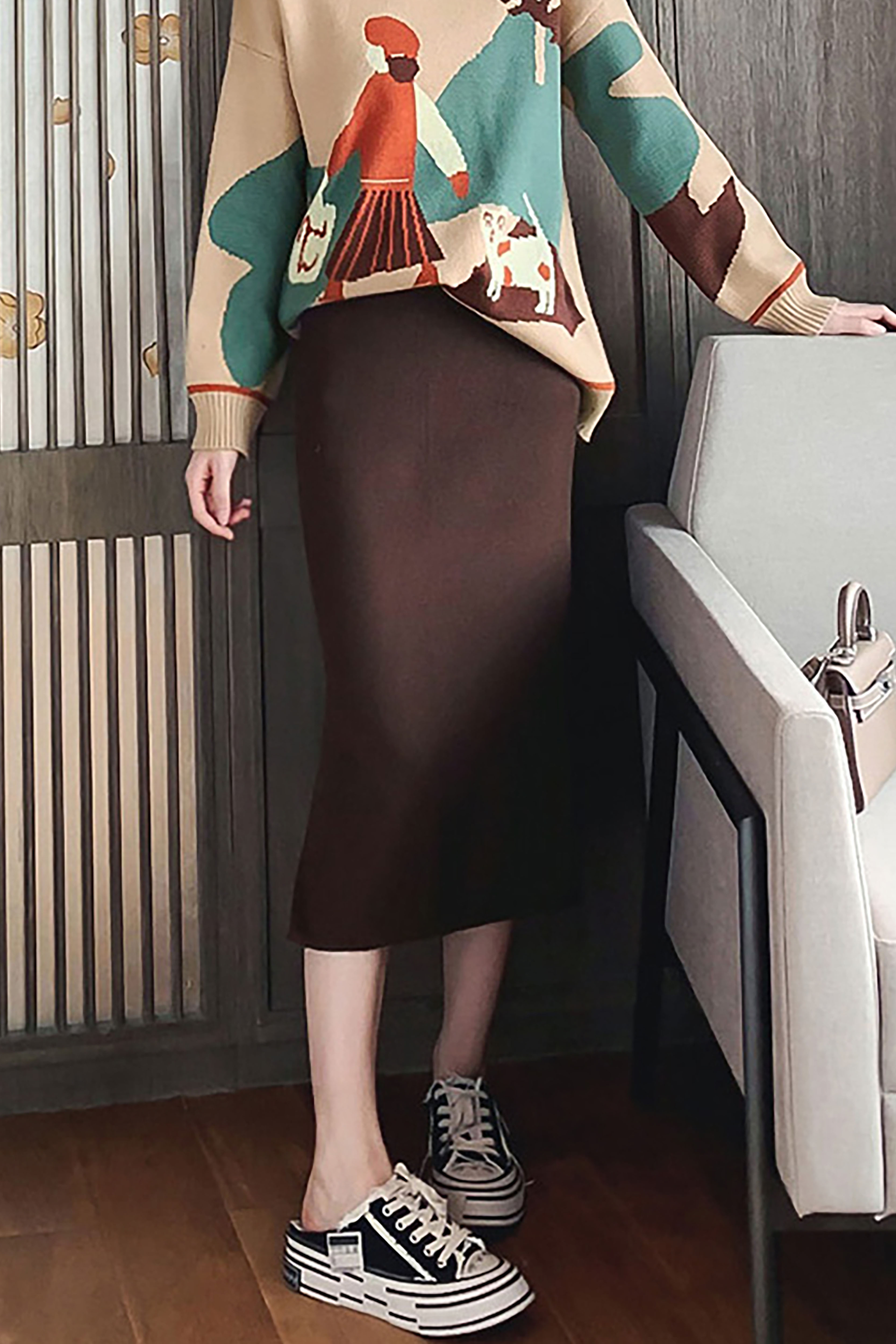 秋季韩版新款小个子时尚洋气减龄高腰显瘦包臀半身裙针织裙长裙子