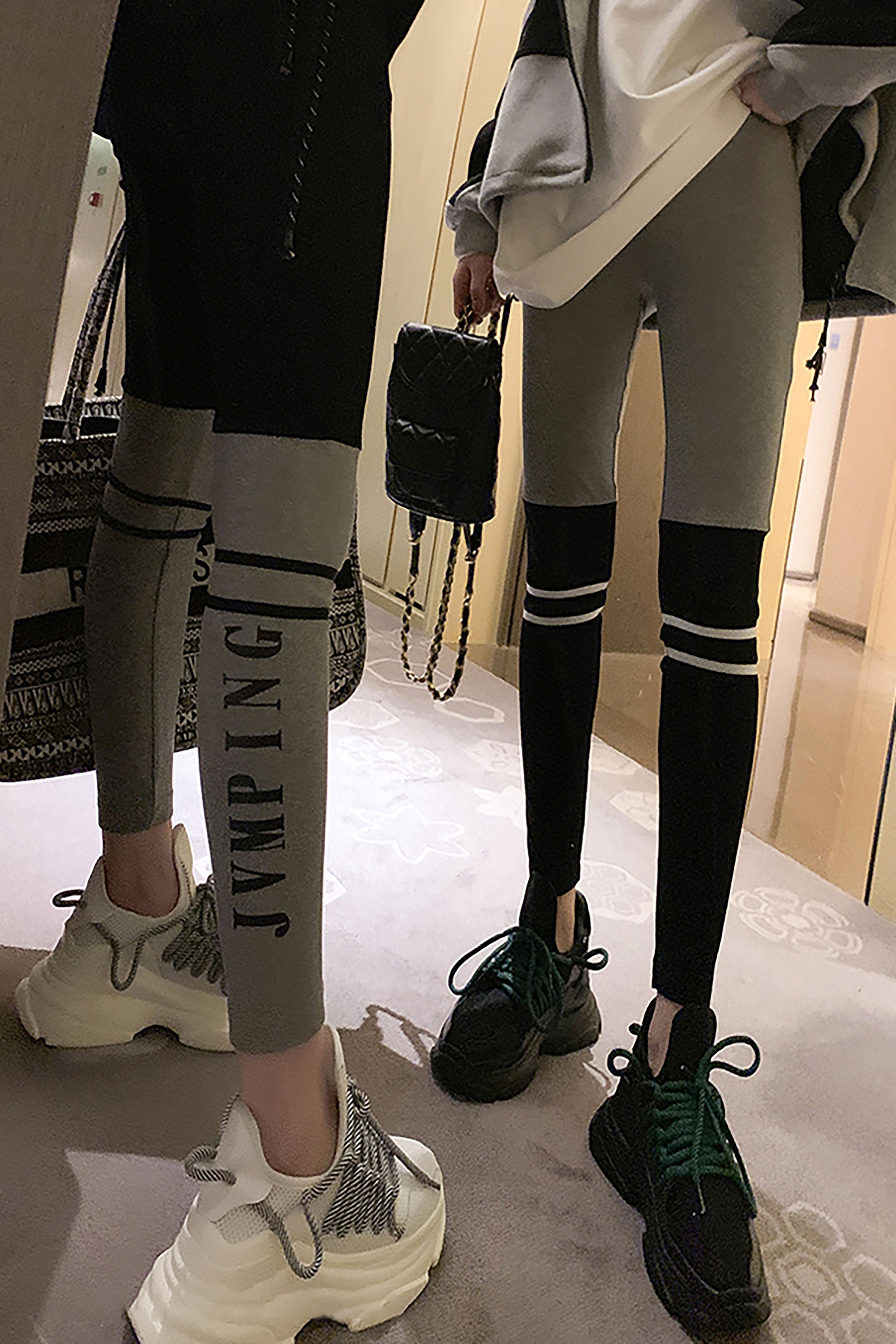 秋季新款韩版修身显瘦减龄休闲裤撞色字母印花外穿打底裤九分裤子